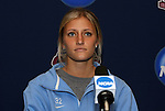 05 December 2009: Senior defender Kristi Eveland. The University of North Carolina Tar Heels held a press conference at the Aggie Soccer Complex in College Station, Texas on the day before playing the Stanford University Cardinal in the NCAA Division I Women's College Cup championship game.