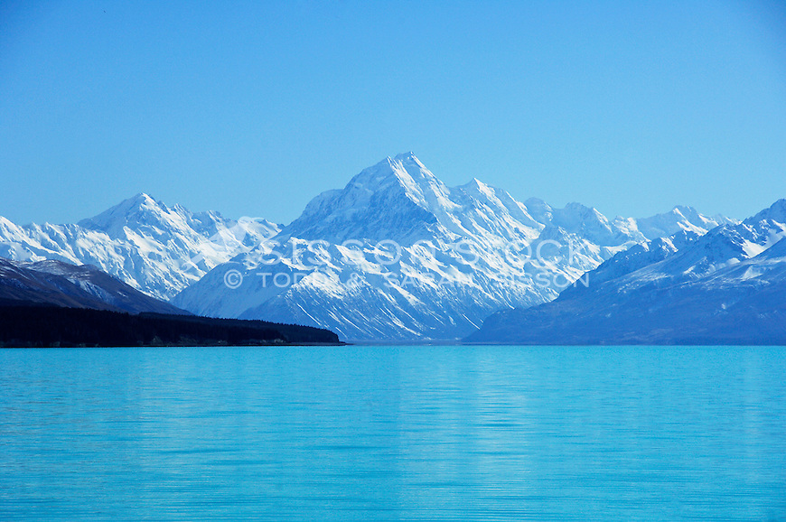 Aoraki / Mount Cook and Lake Pukaki, sunny day, South Island, New Zealand - stock photo, canvas, fine art print
