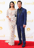 LOS ANGELES, CA, USA - AUGUST 25: Model Camila Alves and actor Matthew McConaughey arrive at the 66th Annual Primetime Emmy Awards held at Nokia Theatre L.A. Live on August 25, 2014 in Los Angeles, California, United States. (Photo by Celebrity Monitor)