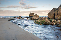 Pastel colours of dawn on beach in Kohaihai near Karamea, Kahurangi National Park, Buller Region, West Coast, New Zealand, NZ