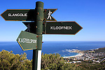 CAPE TOWN, SOUTH AFRICA FEBRUARY 28: A view of signage along the pipe track to Kasteel Port with a view of Camps Bay and The Atlantic ocean on February 28, 2016 in Cape Town, South Africa. The city offers many different hiking trails close to the city center. The Pipe track to Kasteel port is one of the most challenging hikes in Cape Town. (Photo by: Per-Anders Pettersson)