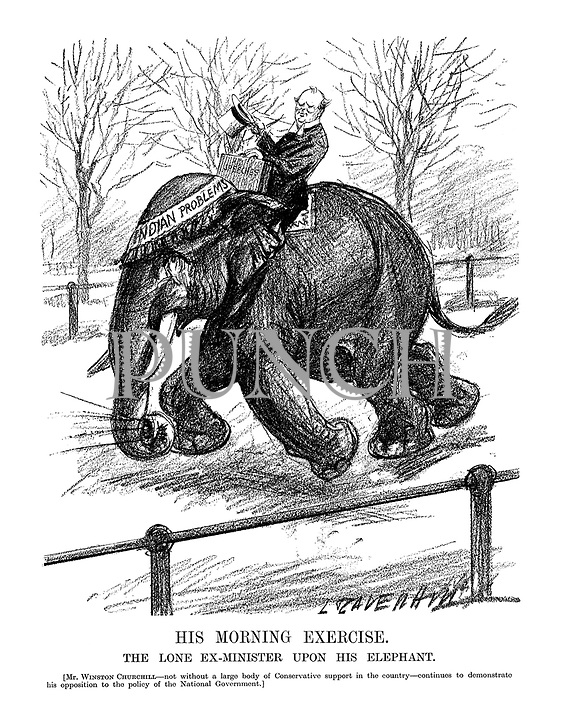 His Morning Exercise. The lone ex-Minister upon his elephant. [Mr ...