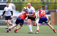 TORONTO, ON - MAY 06:  Steve Crossley #19 of Toronto Wolfpack is tackled by Harrison Brough #17 and Brad Moules #25 of Oxford RLFC during the second half of a Kingstone Press League 1 match at Lamport Stadium on May 6, 2017 in Toronto, Canada.  (Photo by Vaughn Ridley/SWpix.com)