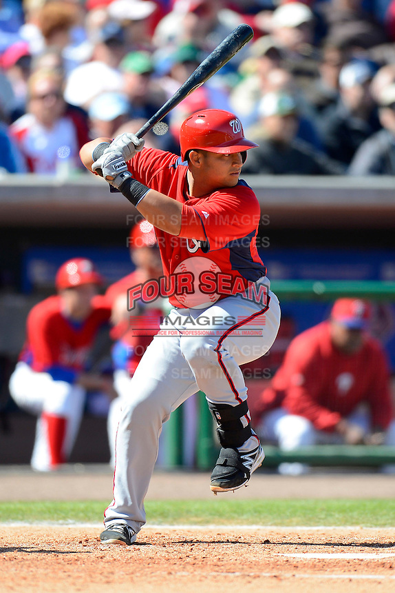 Washington Nationals catcher Jhonatan Solano #23 during a Spring Training game against the Philadelphia Phillies at Bright House Field on March 6, 2013 in Clearwater, Florida.  Philadelphia defeated Washington 6-3.  (Mike Janes/Four Seam Images)