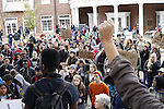 Students congregate outside of Baker where they are asked to share their thoughts and feelings on the national issues of racial discrimination and police brutality.