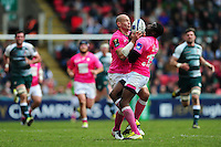 Sergio Parisse and Djibril Camara of Stade Francais both look to gather the ball. European Rugby Champions Cup quarter final, between Leicester Tigers and Stade Francais on April 10, 2016 at Welford Road in Leicester, England. Photo by: Patrick Khachfe / JMP
