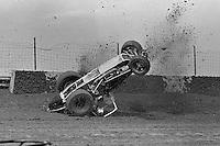 Frame #3 of Gary Bettenhausen's crash during a 1977 USAC race at Eldora Speedway near Rossburg, Ohio.