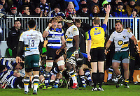 David Denton of Bath Rugby celebrates as referee Wayne Barnes awards his team a penalty from a strong scrum. Aviva Premiership match, between Bath Rugby and Northampton Saints on February 10, 2017 at the Recreation Ground in Bath, England. Photo by: Patrick Khachfe / Onside Images