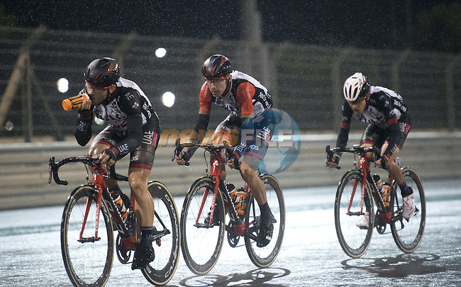 Race leader Red Jersey Rui Coata (POR) UAE Abu Dhabi team in action during a wet Stage 4 Yas Island Stage of the 2017 Abu Dhabi Tour, 143km with 26 laps of 5.5km of the Yas Marina Circuit, Abu Dhabi. 26th February 2017.<br /> Picture: ANSA/Claudio Peri | Newsfile<br /> <br /> <br /> All photos usage must carry mandatory copyright credit (&copy; Newsfile | ANSA)