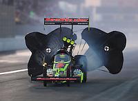 Nov 12, 2016; Pomona, CA, USA; NHRA top fuel driver Leah Pritchett during qualifying for the Auto Club Finals at Auto Club Raceway at Pomona. Mandatory Credit: Mark J. Rebilas-USA TODAY Sports