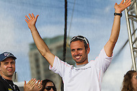 BRAZIL, Itajai.10th April 2012. Volvo Ocean Race. Franck Cammas, Skipper Groupama celebrates finishing third on Leg 5 of the Volvo Ocean Race.