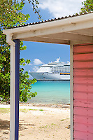 Cruise ship at the dock in Fredericksted<br /> St Croix, US Virgin Islands