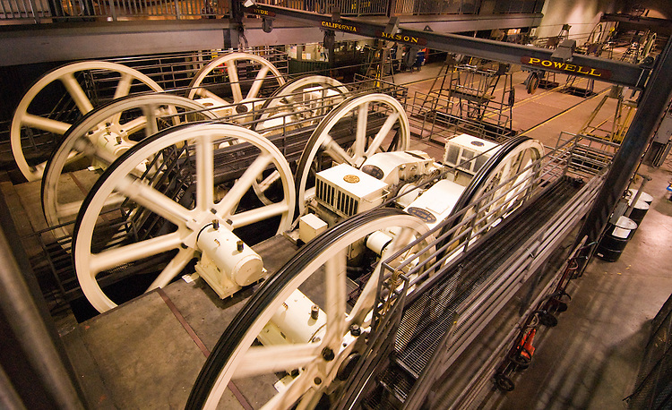 California, San Francisco: Huge wheels propelling the Cable Cars at the Cable Car Museum..Photo #: 5-casanf77971.Photo © Lee Foster 2008