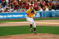 13 March 2011: NCAA Pac-10 college UCLA-USC sports rivalry baseball teams met in a non-conference game at Dodger Stadium as part of the Dodgertown Classic.  USC Trojans defeated the UCLA Bruins 2-0 during an afternoon weekend game inside the MLB stadium.  Pitcher #27 Bobby Wheatley on the pitching mound.