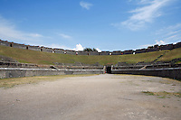 Amphitheatre, 1st century BC, Pompeii, one of the earliest examples.  Backing on to the city wall it is elliptical in shape, its seating capacity was 20,000
