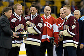 Joe Bertagna, Brian Leetch, Craig Janney, Shawn McEachern (UMass-Lowell - Assistant Coach), Greg Brown, Grant Standbrook - The University of Massachusetts-Lowell River Hawks defeated the Northeastern University Huskies 3-2 (OT) in their Hockey East Semi-Final match on Friday, March 20, 2009, at the TD BankNorth Garden in Boston, Massachusetts.