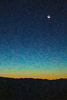 Waning crescent moon and Mercury in pre-sunrise sky over Oconaluftee Overlook, Great Smoky Mountains National Park.  The image was creatively modified to resemble a painting.