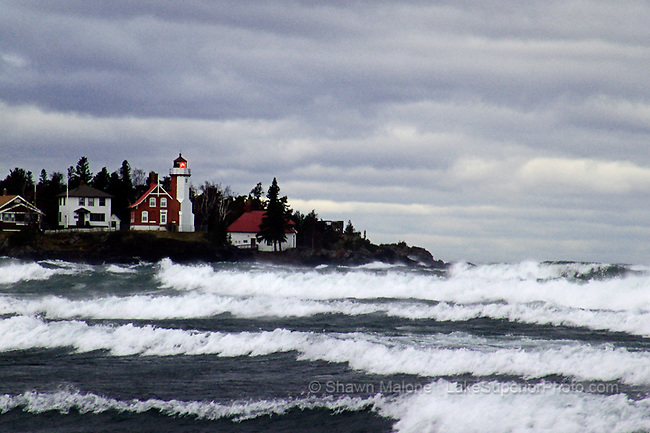 Eagle Harbor Lighthouse storm force waves lighthouses in the Upper Peninsula of Michigan