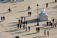 Visitors stroll through Jardin des Tuileries, Central Paris, France