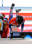 14 December 2007: Svetlana Trunova, racing for Russia, starts her second run of the FIBT World Cup Skeleton Competition at the Olympic Sports Complex on Mount Van Hoevenberg, at Lake Placid, New York, USA. ..Mandatory Photo Credit: Ed Wolfstein Photo