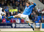 St Johnstone v Inverness Caley Thistle...02.05.15   SPFL<br /> Murray Davidson can't control his shot at goal<br /> Picture by Graeme Hart.<br /> Copyright Perthshire Picture Agency<br /> Tel: 01738 623350  Mobile: 07990 594431