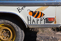 hand painted old truck sign &quot;Bee Happy&quot;