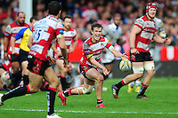 Billy Burns of Gloucester Rugby passes the ball. Aviva Premiership match, between Gloucester Rugby and Bath Rugby on October 1, 2016 at Kingsholm Stadium in Gloucester, England. Photo by: Patrick Khachfe / Onside Images