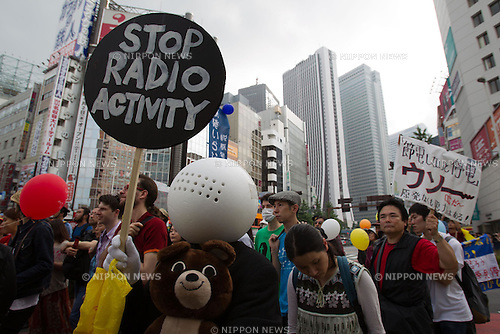 June 11th, 2011 - Tokyo, Japan - Thousands of protesters march on the streets during an anti-nuclear rally in downtown Tokyo. In a global call for action effort, several citizens and various anti-nuclear groups in all regions of Japan march on the streets demanding the closure of all nuclear power and encourage a shift to a new energy policy. It's been three months after the quake hit Daiichi Nuclear Power Plant triggered a nuclear crisis to erupt in Japan and until now, the plant has not been fully contained to a safe level..