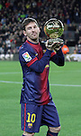 Messi with his Ballon D'or X 4