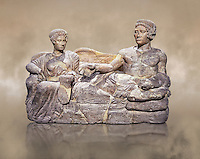Etruscan cinerary, funreary, urn cover depicting a husband and wife,  from the Padata Necropolis, Chianciano, end of 5th century B.C., inv 94352 National Archaeological Museum Florence, Italy