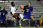 11 September 2015: Virginia's Edward Opoku (18) and Duke's Markus Fjortoft (NOR) (21). The Duke University Blue Devils hosted the University of Virginia Cavaliers at Koskinen Stadium in Durham, NC in a 2015 NCAA Division I Men's Soccer match. The game ended in a 2-2 tie after overtime.