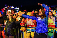 February 16, 2017: Fans in the crowd at the medal ceremony for the women's giant slalom event of the FIS Alpine World Ski Championships at St Moritz, Switzerland. Photo Sydney Low