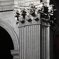 Corinthian capital, at the intersection between the nave and the choir,  Eglise Saint-Sulpice (St Sulpitius' Church), c.1646-1745, late Baroque church on the Left Bank, Paris, France. Picture by Manuel Cohen
