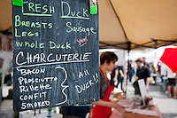 Hudson Valley Duck on opening day at the Smorgasburg in the Williamsburg neighborhood of Brooklyn in New York on Saturday, May 21, 2011. The new marketplace features a Greenmarket and prepared food made in Brooklyn by small entrepreneurs. The market is the creation of the operators of the wildly successful Brooklyn Flea. (© Richard B. Levine)