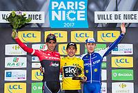 Picture by Alex Broadway/SWpix.com - 12/03/17 - Cycling - 2017 Paris Nice - Stage Eight - Nice to Nice - Alberto Contador of Trek-Segafredo, Sergio Henao of Team Sky and Dan Martin of Quick-Step Floors on the podium.