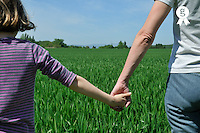 Mother holding daugther's hand facing a green wheat field (Licence this image exclusively with Getty: http://www.gettyimages.com/detail/81867367 )