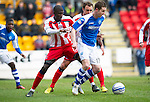 St Johnstone v Kilmarnock.....09.03.13      SPL.Steven MacLean and Mohamadou Sissoko.Picture by Graeme Hart..Copyright Perthshire Picture Agency.Tel: 01738 623350  Mobile: 07990 594431