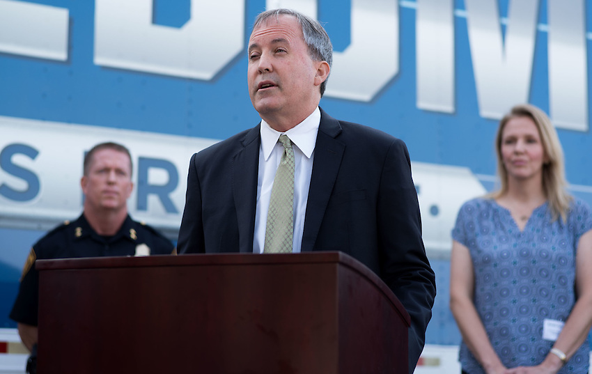 Texas Attorney General Ken Paxton speaks during a press conference about combating human trafficking in Texas, Thursday, Sept. 1, 2016, at the San Antonio Police Department Public Safety Headquarters in San Antonio. (Darren Abate for the Texas Tribune)