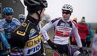 Lars van der Haar (NED/Telenet-Fidea) &amp; Mathieu Van der Poel (NED/Beobank-Corendon) chatting before the course recon<br /> <br /> Elite men<br /> CX Superprestige Noordzeecross <br /> Middelkerke / Belgium 2017