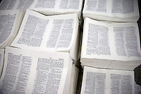 "Palettes of newly-printed Bible pages sit ready to be bound and assembled in the Amity Printing Company's new printing facility in Nanjing, China....On May 18, 2008, the Amity Printing Company in Nanjing, Jiangsu Province, China, inaugurated its new printing facility in southern Nanjing.  The facility doubles the printing capacity of the company, now up to 12 million Bibles produced in a year, making Amity Printing Company the largest producer of Bibles in the world.  The company, in cooperation with the international organization the United Bible Societies, produces Bibles for both domestic Chinese use and international distribution.  The company's Bibles are printed in Chinese and many other languages.  Within China, the Bibles are distributed both to registered and unregistered Christians who worship in illegal ""house churches."""