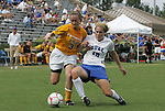 20 September 2009: LSU's Malorie Rutledge (3) and Duke's Maddy Haller (18). The Duke University Blue Devils played the Louisiana State University Tigers to a 2-2 tie after overtime at Koskinen Stadium in Durham, North Carolina in an NCAA Division I Women's college soccer game.