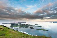 View of the community of Kodiak from the  top of Pillar mountain, Kodiak Island, Alaska.
