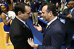 16 January 2016: Notre Dame head coach Mike Brey (right) and Duke head coach Mike Krzyzewski (left). The Duke University Blue Devils hosted the University of Notre Dame Fighting Irish at Cameron Indoor Stadium in Durham, North Carolina in a 2015-16 NCAA Division I Men's Basketball game. Notre Dame won the game 95-91.