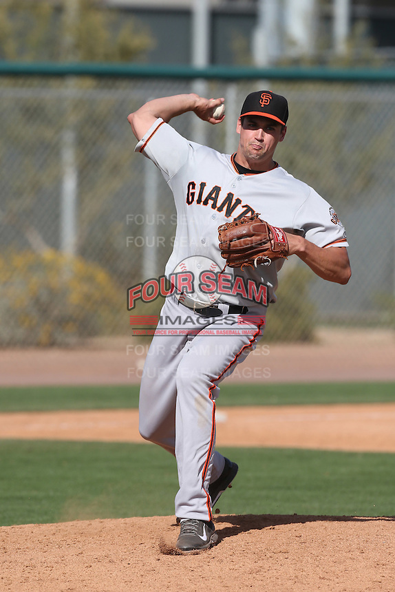 Jeff Soptic of the San Francisco Giants pitches during a Minor League Spring Training Game against the Colorado Rockies at the Colorado Rockies Spring Training Complex on March 18, 2014 in Scottsdale, Arizona. (Larry Goren/Four Seam Images)
