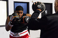 October 13, 2012, Delran, New Jersey, USA: Derek Frazier warms up prior to fighting Geraldo Rios for the MTV reality show Made at It's On Boxing/MMA.