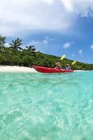 Split level kayakers<br /> Honeymoon Beach<br /> Virgin Islands National Park<br /> St. John, U.S. Virgin Islands