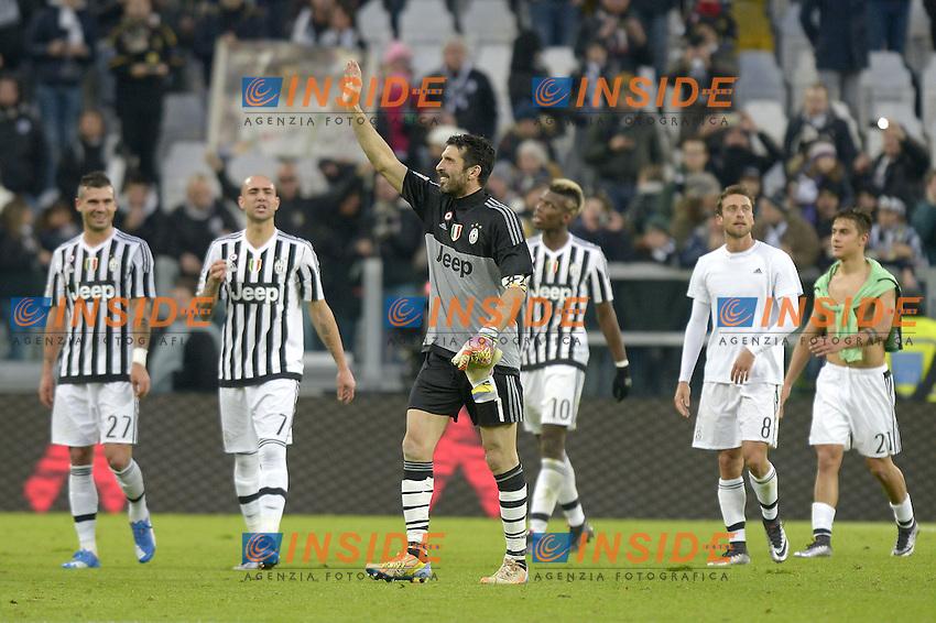 Esultanza finale Gianluigi Buffon Juventus,<br /> Torino 06-01-2016, Juventus Stadium, Football Calcio 2015/2016 Serie A, Juventus - Verona, Foto Filippo Alfero/Insidefoto