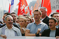 Moscow, Russia, 06/05/2012..Opposition leaders Garry Kasparov and Alexei Navalny at demonstration against Russian Presidential election results on the eve of Vladimir Putins inauguration as President.