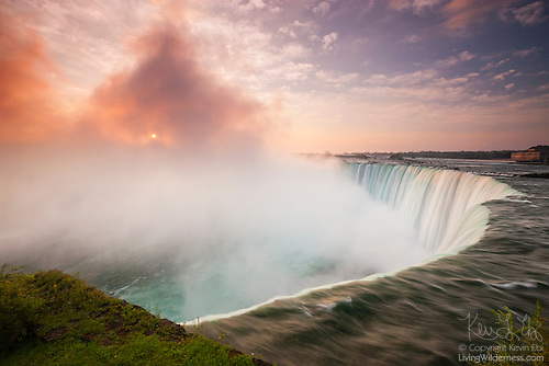 Sunrise Through Mist of Niagara Falls, Ontario, Canada