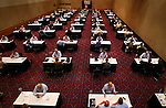 Tables are arranged in rows during a small business speed coaching event  within the Oregon Convention Center in conjunction with SCORE.  Each participant will get 30 minutes of free time with a small business consultant with hopes of learning new ideas to improve their bottom line during these tough economic times.